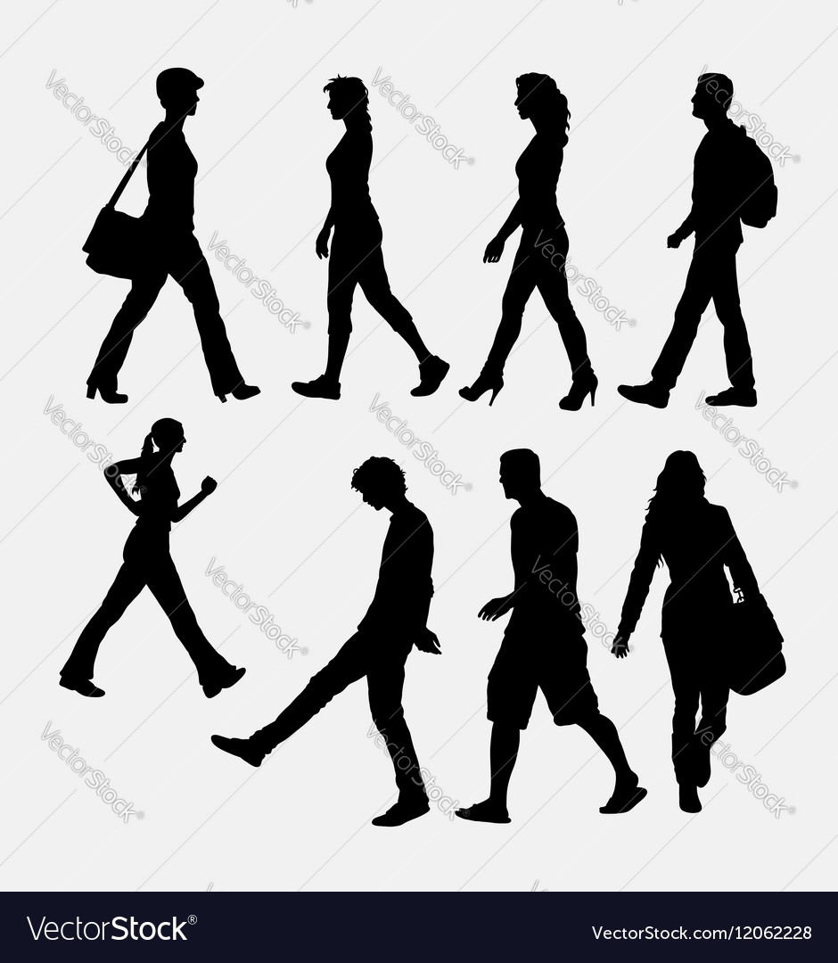 People walking silhouette vector image