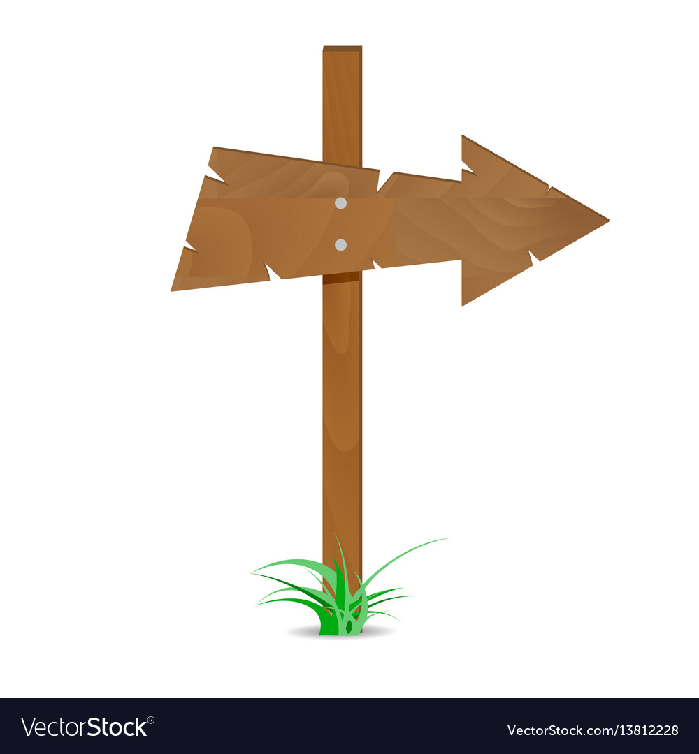 Wooden arrow sign vector image