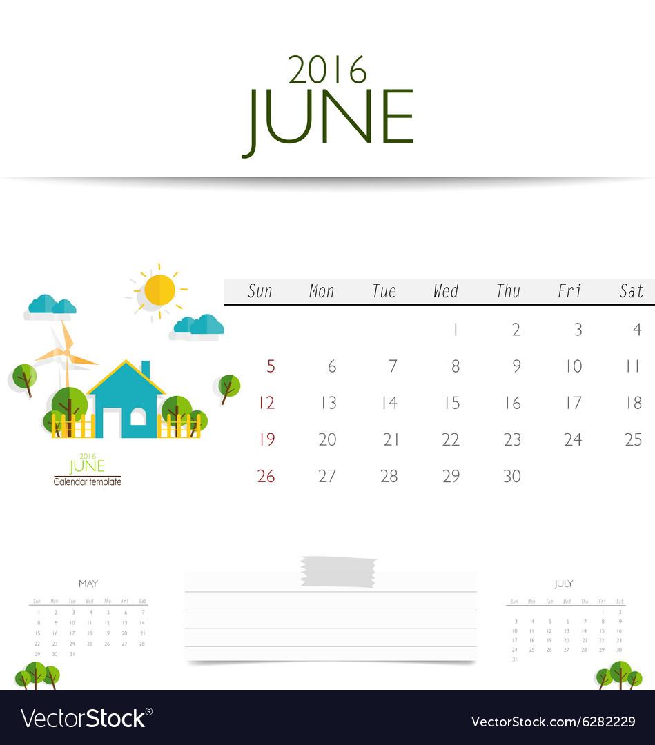 June Calendar Vector : Calendar monthly template for june vector image