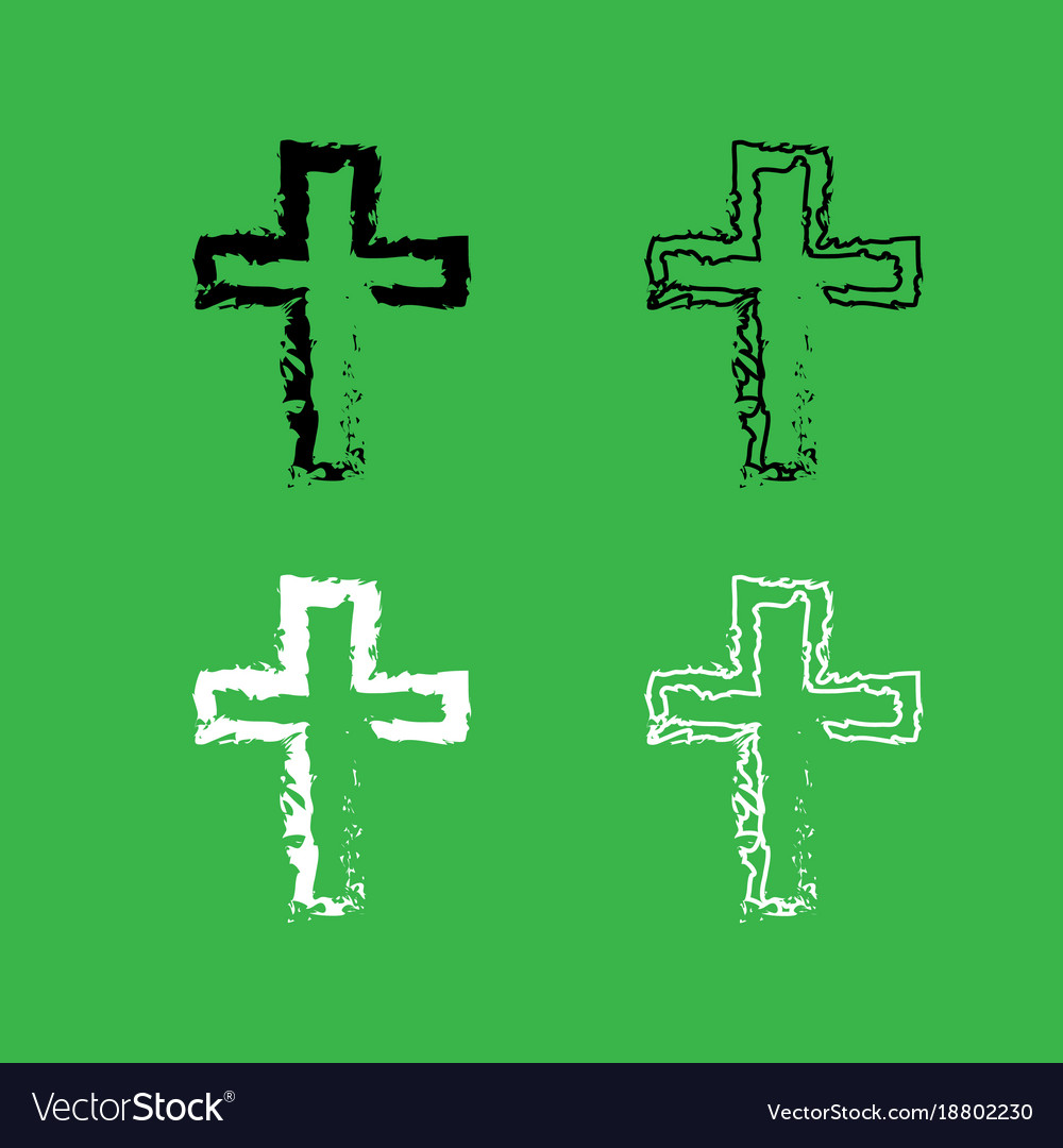 Cross icon black and white color set Royalty Free Vector