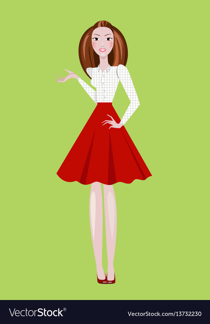 Fashion of girl wearing red skirt and vector image