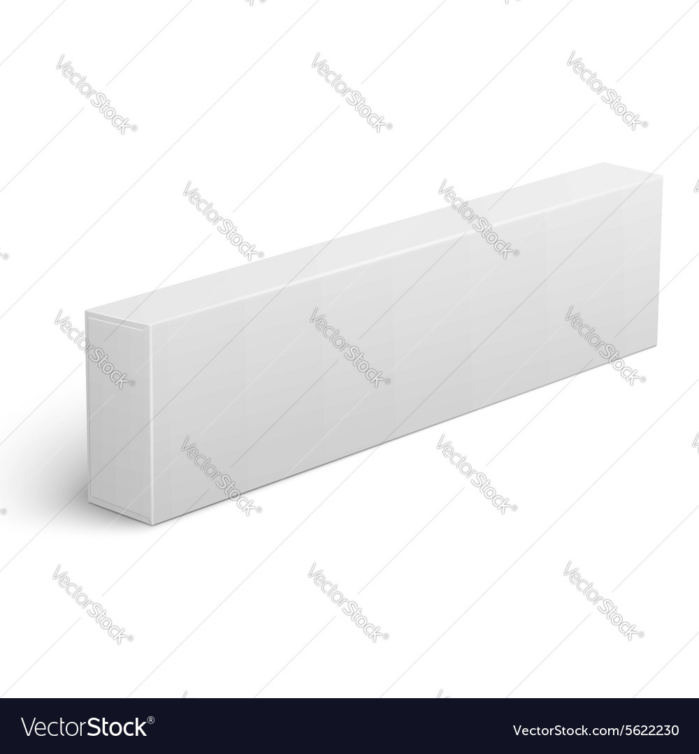 Long blank cardboard box template vector image