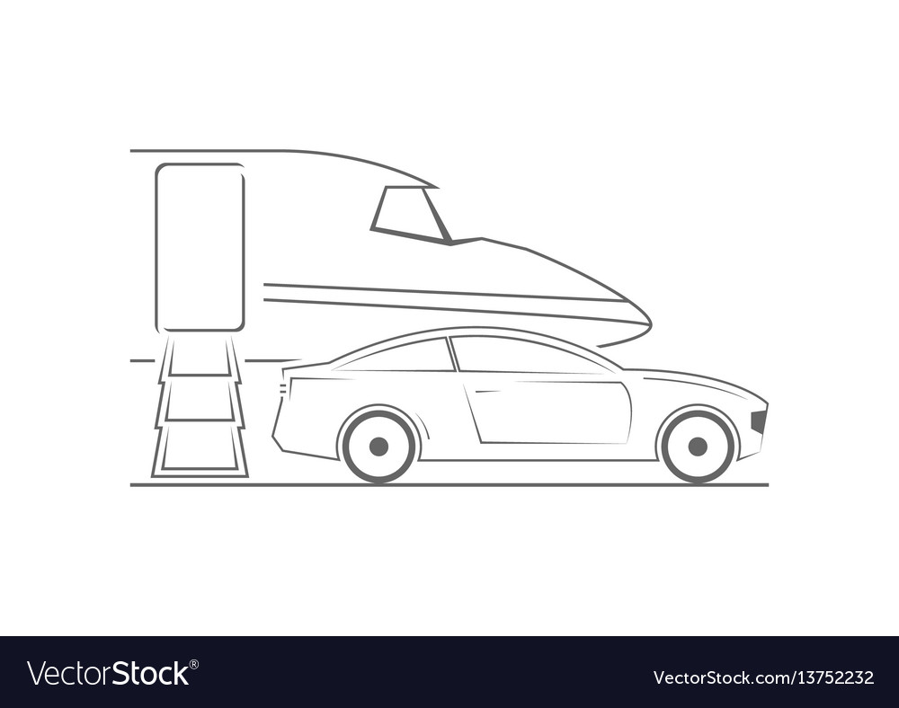 Private jet and car vector image