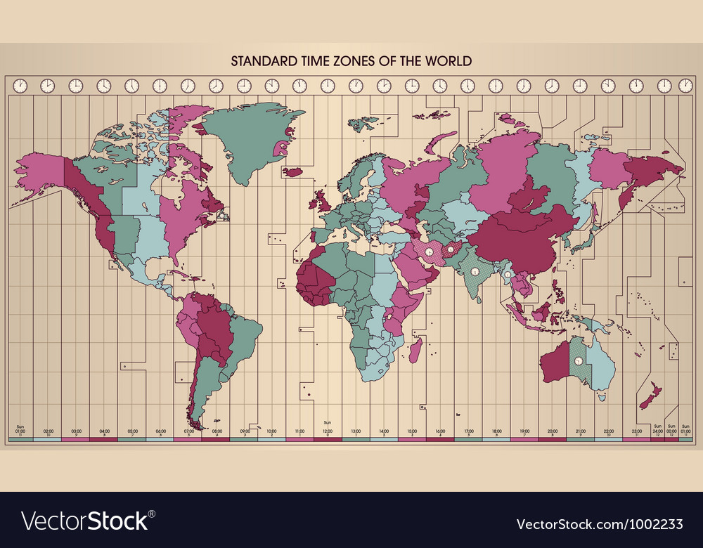 World map time zones vector image