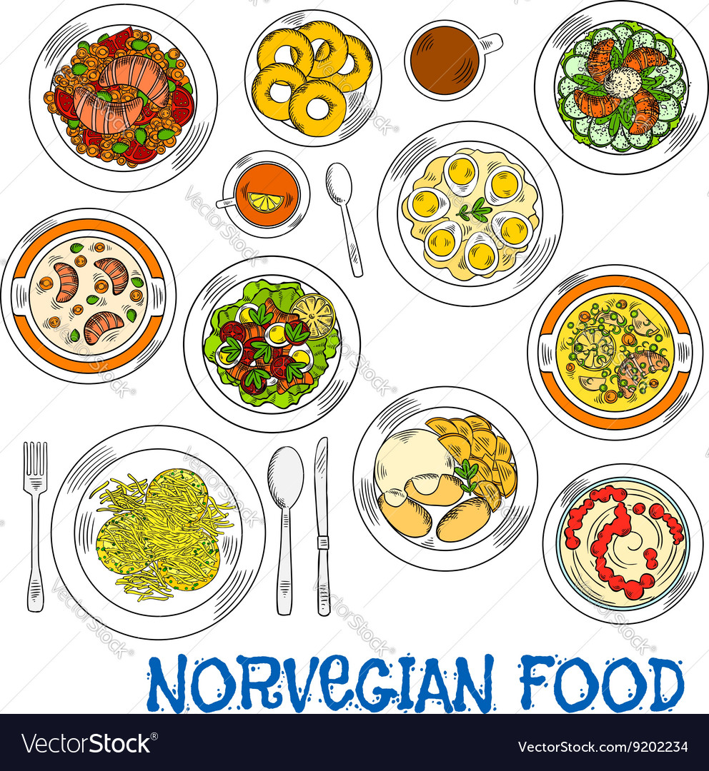 Traditional norwegian seafood and vegetable dishes vector image