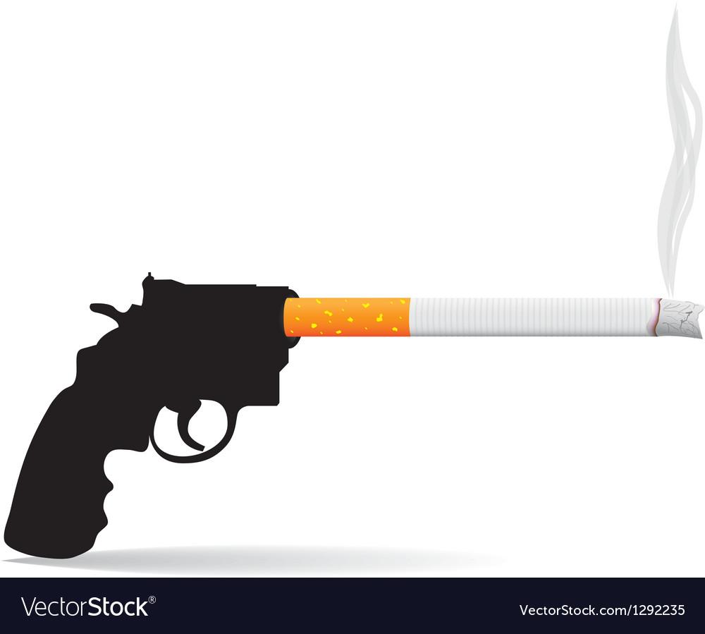 Gun and cigarette vector image