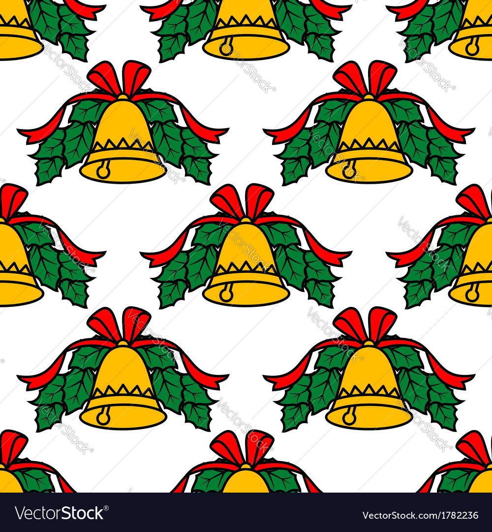 Christmas bell seamless pattern vector image