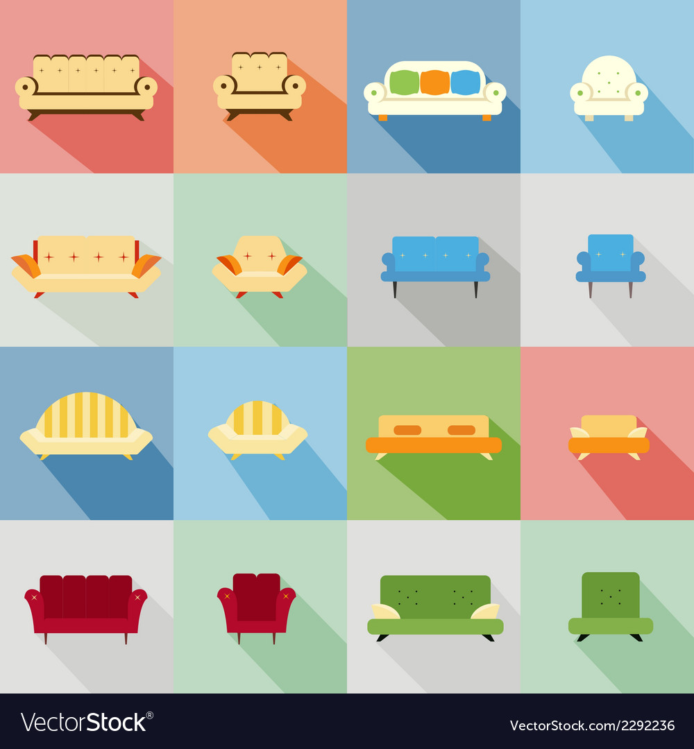 Icons of matching sofa and chair vector image