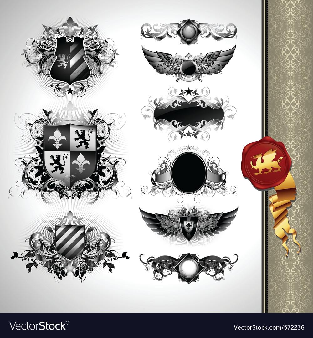 Medieval heraldry shields vector image