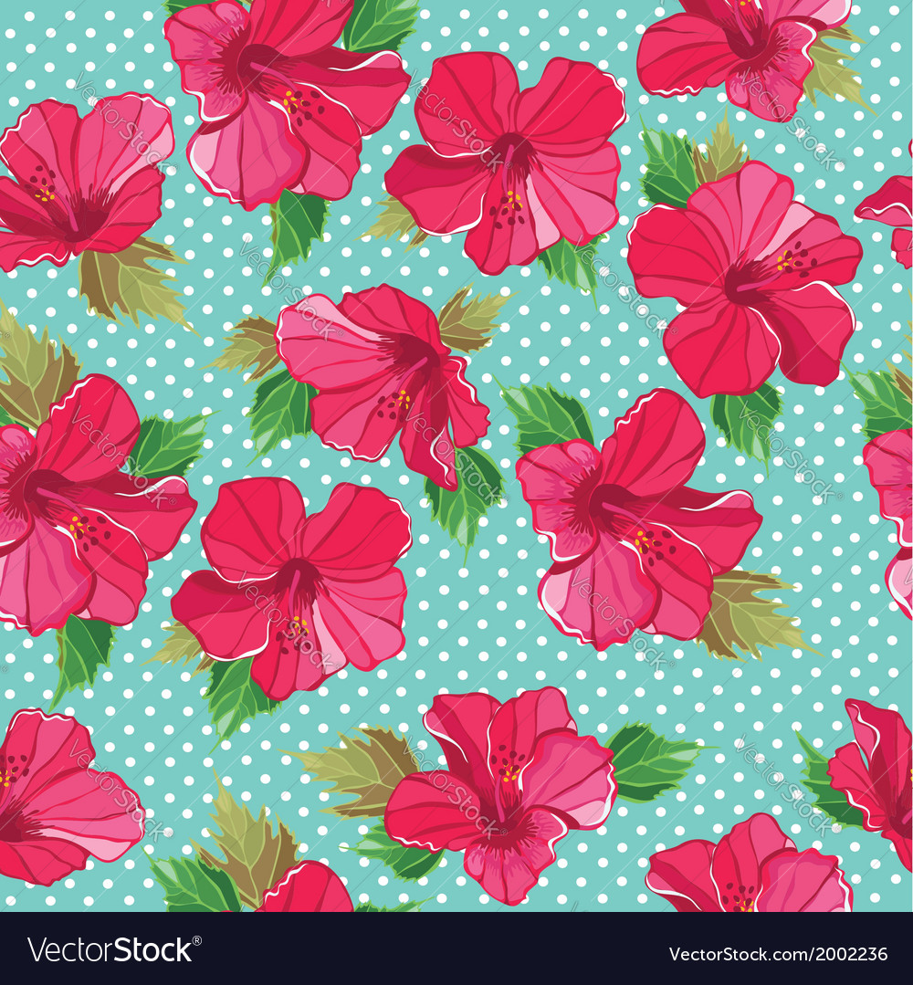 Seamless floral pattern with hibiscus vector image