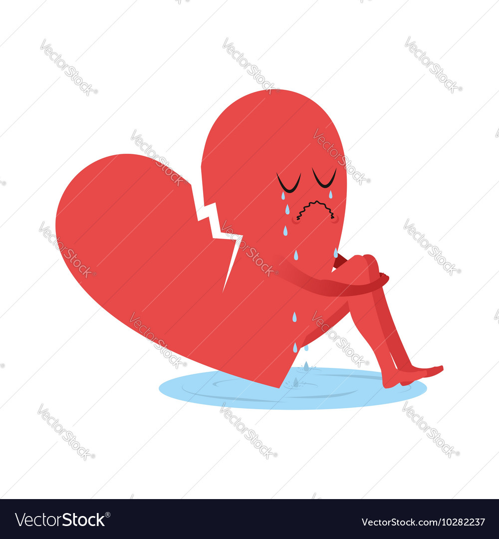 Broken heart is crying symbol of love sitting in vector image broken heart is crying symbol of love sitting in vector image buycottarizona