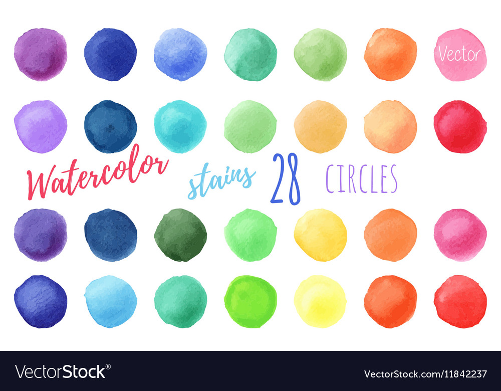 Rainbow colors watercolor paint stains vector image