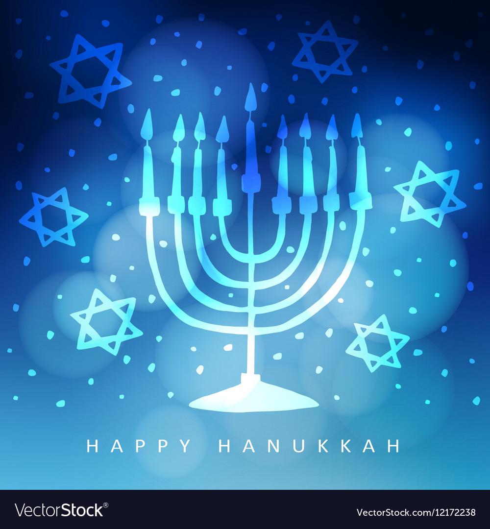 Hanukkah greeting card invitation with hand drawn vector image