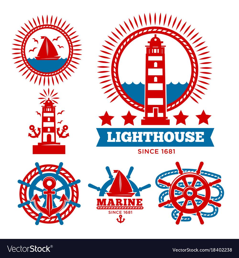 Marine and nautical logo templates or heraldic vector image