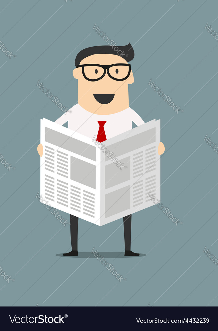 Cartoon businessman reading a newspaper vector image