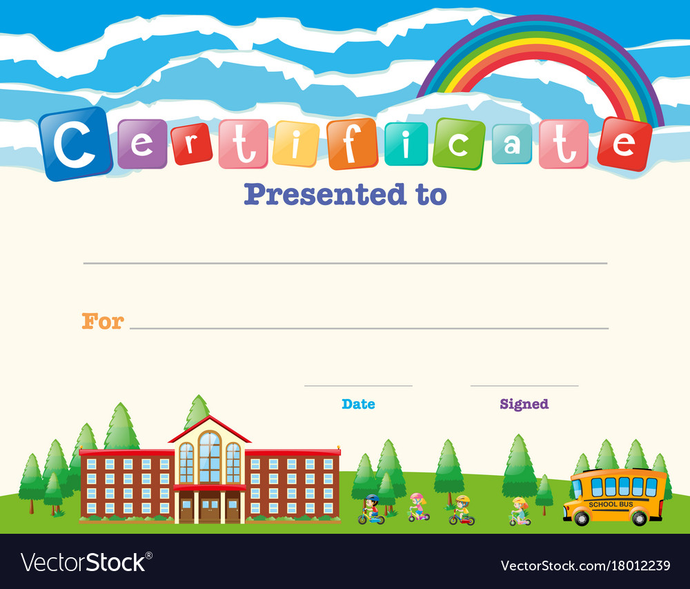 Certificate template with kids at school vector image yadclub Image collections