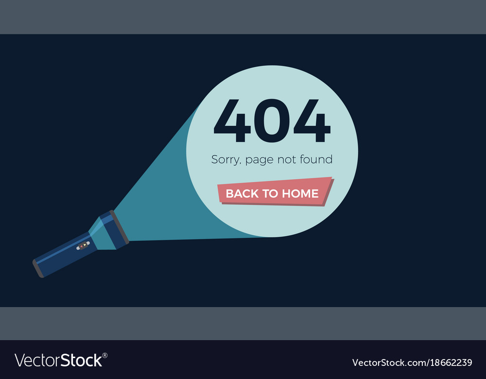 Screen error 404 page not found flashlight shine vector image
