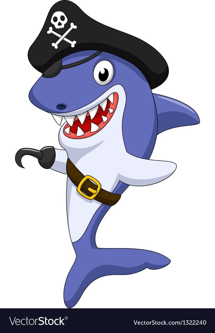 Cute pirate shark cartoon vector image