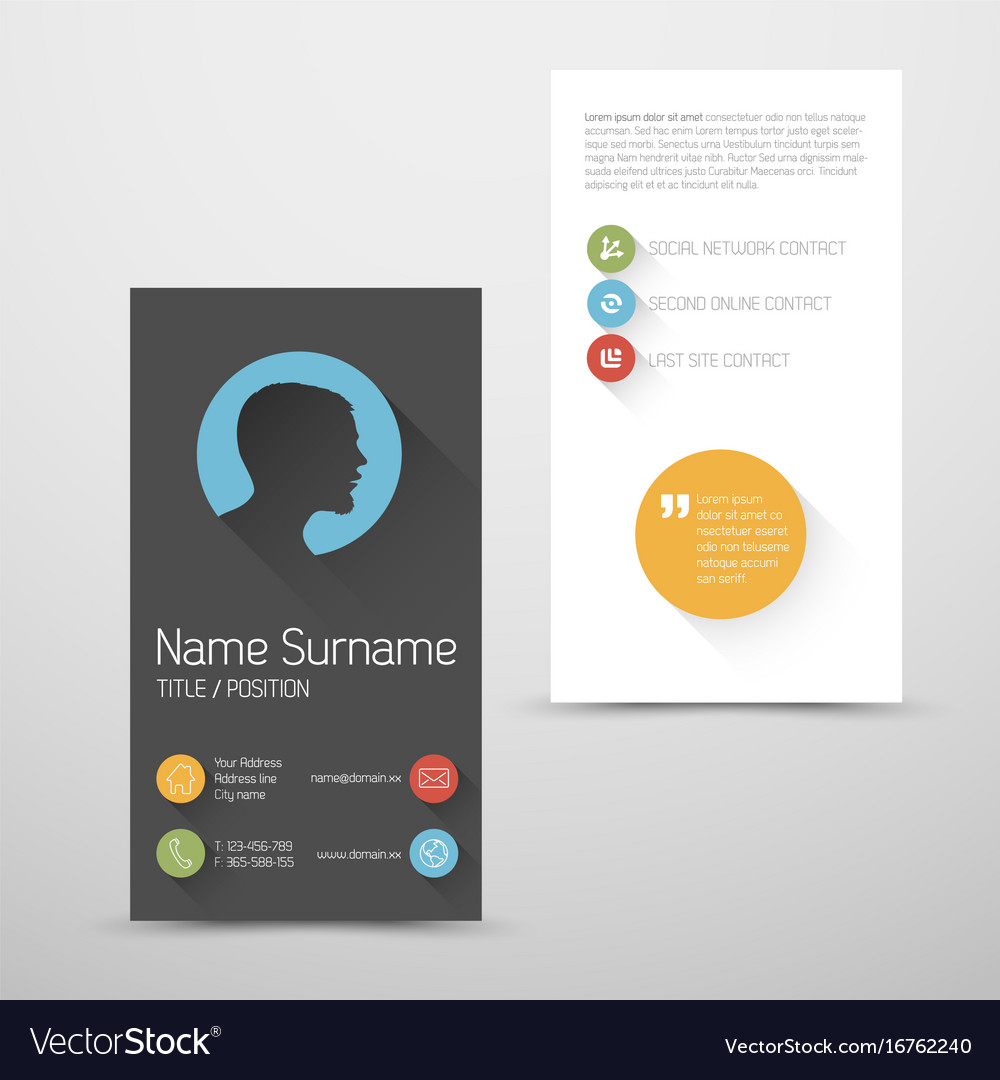 Modern Vertical Business Card Template With Flat Vector Image - Business card vertical template