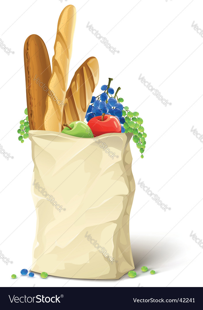 Bread and fruit vector image