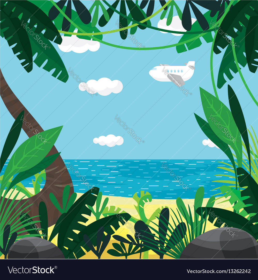 About summer beach plants sea sky vector image