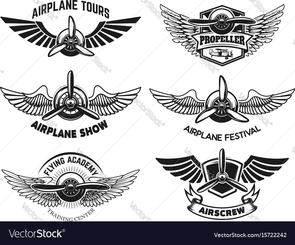 Set of airplane show labels emblems with wings vector image