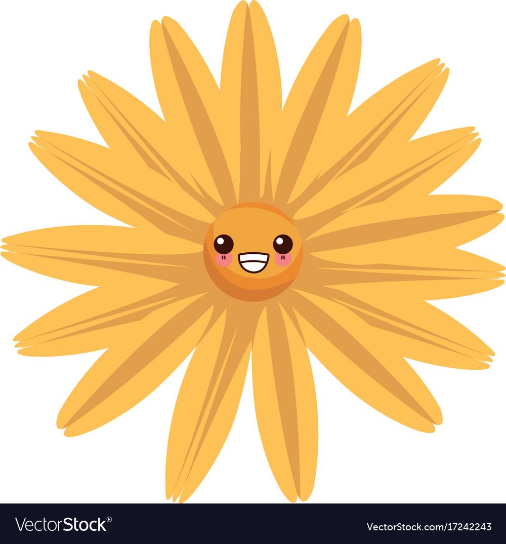 Beautiful Flower Kawaii Cartoon Royalty Free Vector Image