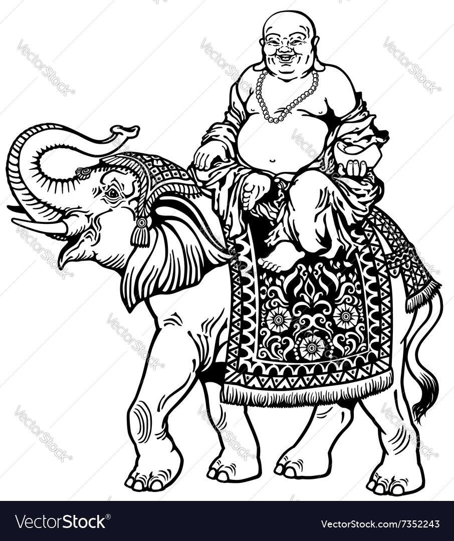 Buddha and elephant black white vector image