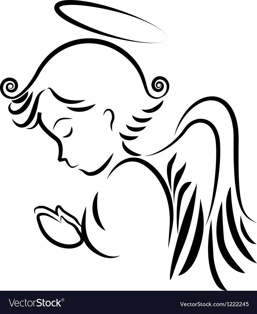 Angel praying logo vector image