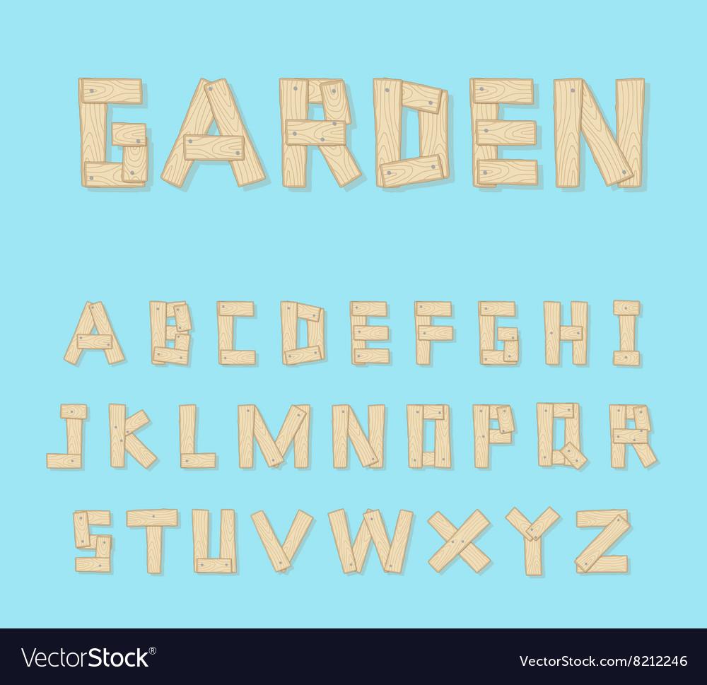 Hand Drawn Wooden Alphabet - vector image