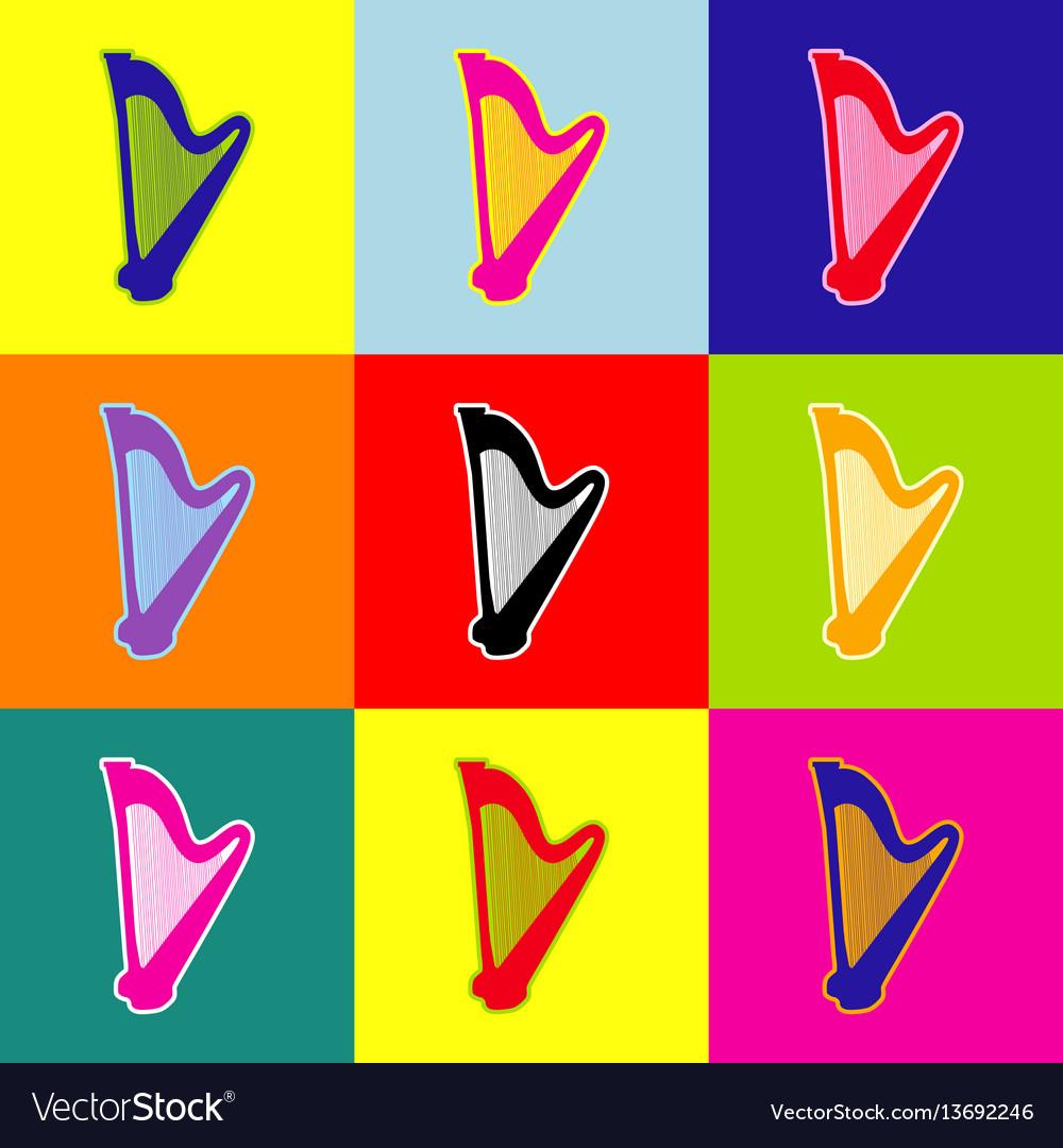 Musical instrument harp sign pop-art vector image