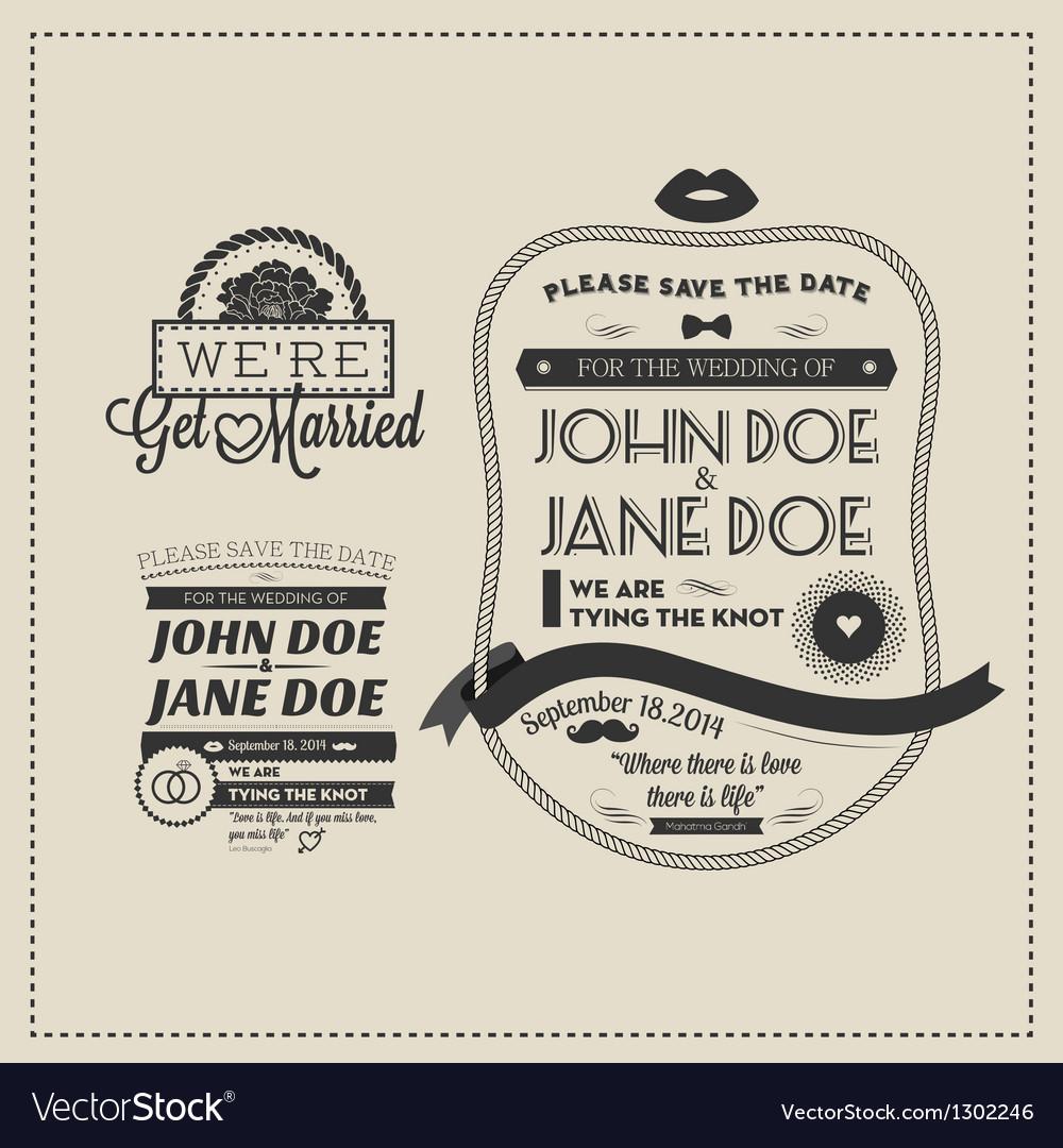Set designer wedding stamps vector image
