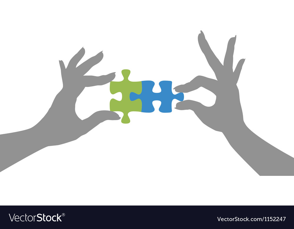 Hands puzzle pieces together solution vector image