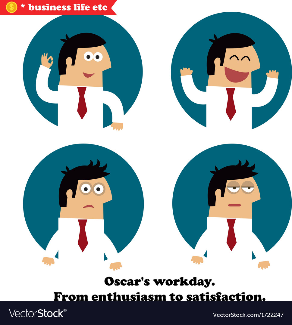 Business emotions icons set vector image