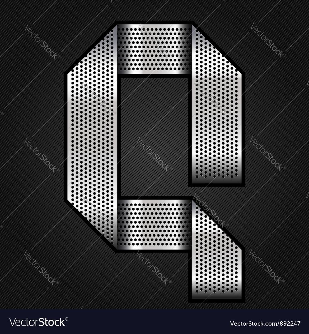 Letter metal chrome ribbon - Q vector image