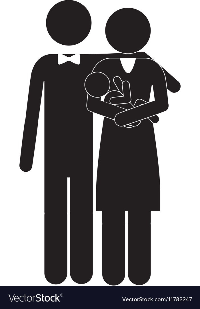Pictogram family with baby in arms vector image