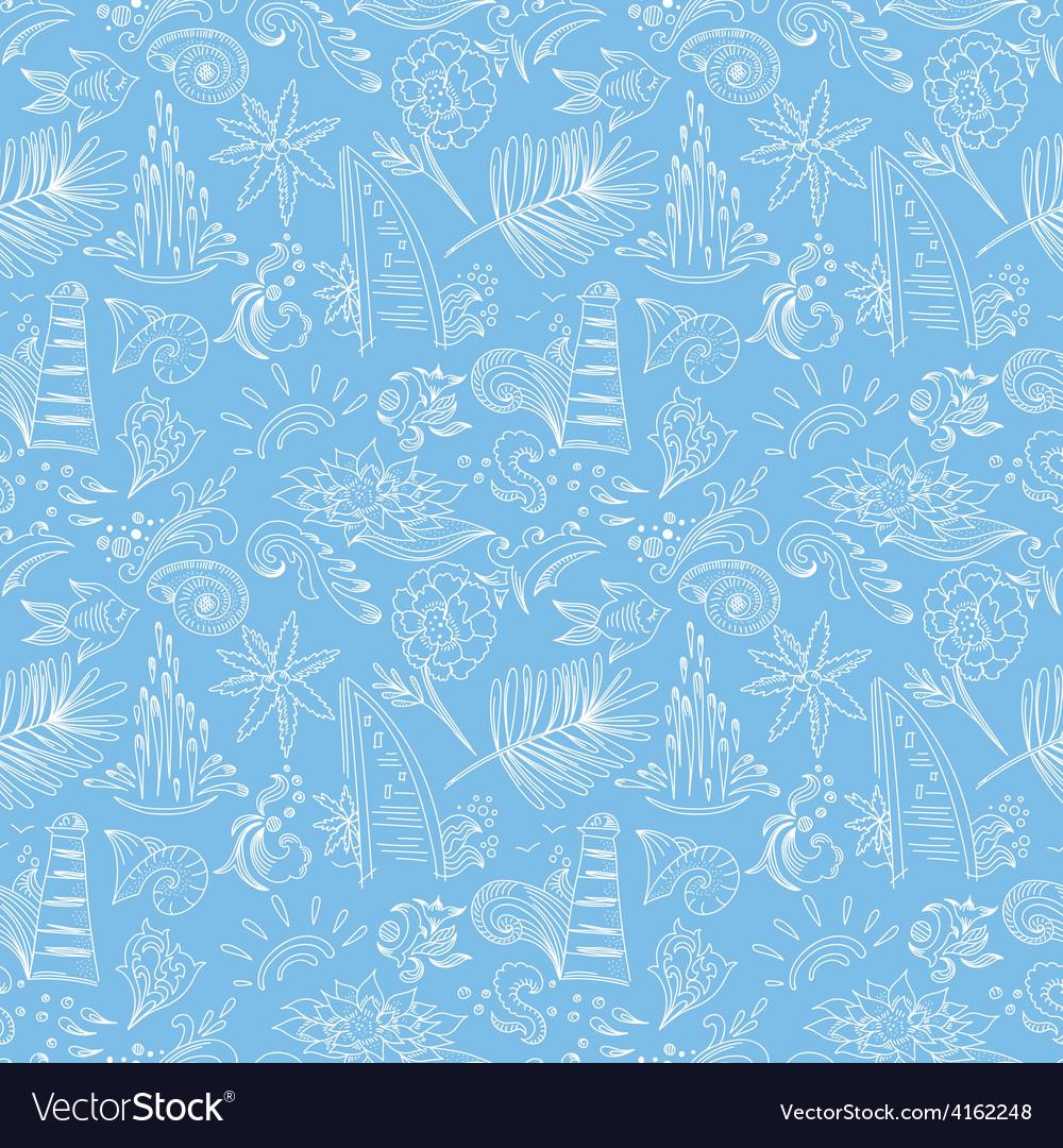 Blue travel pattern vector image