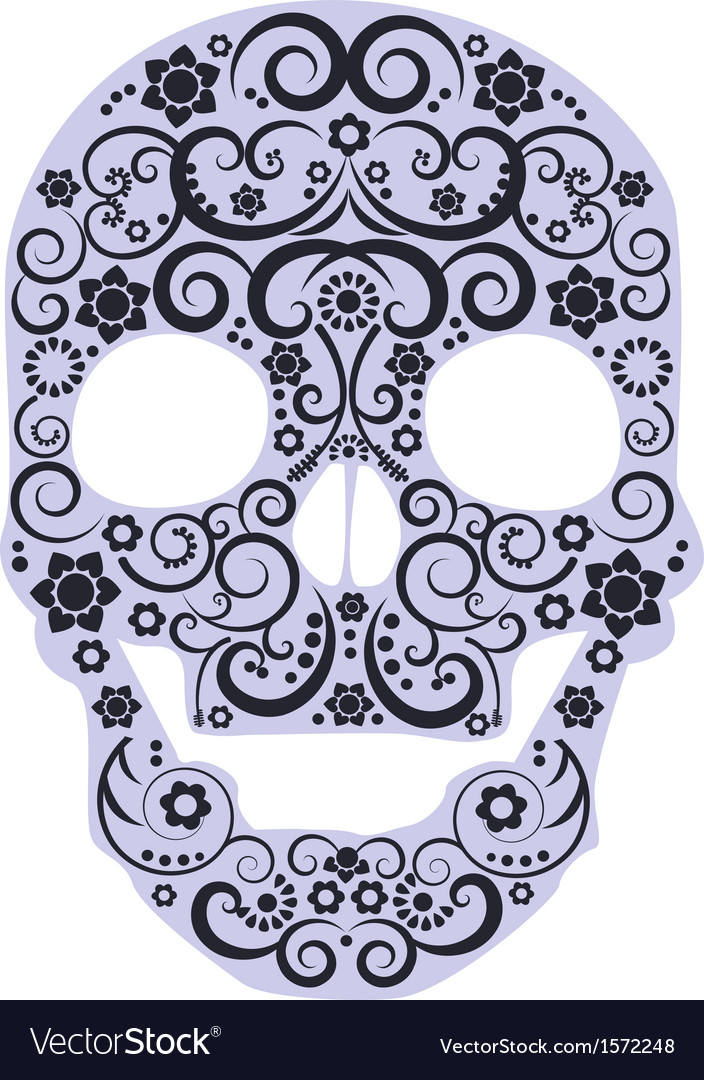 Human skull from flowers vector image