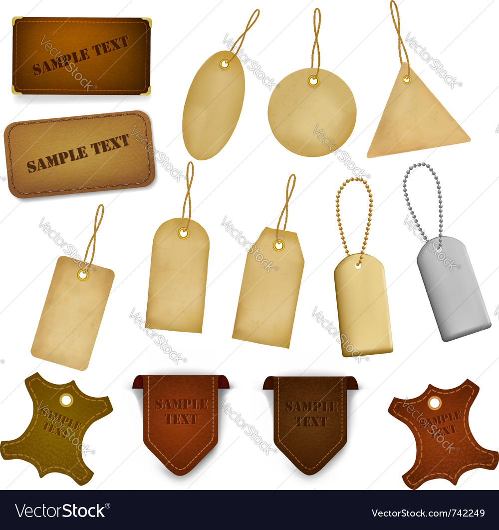 Big set of leather labels and tags Vector Image