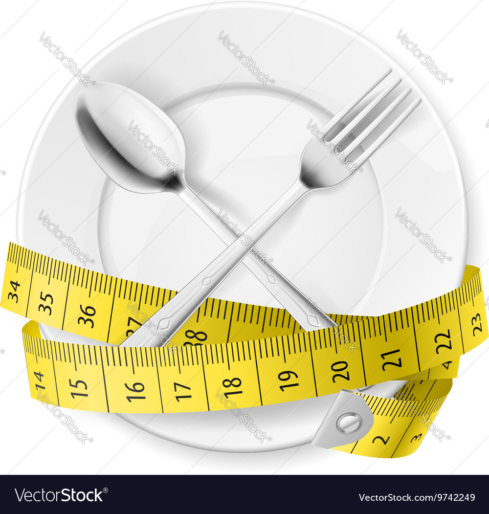 Crossed spoon and fork plate Diet metr 02 vector image