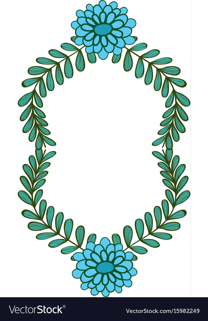 Rustic design branches with leaves and flowers vector image