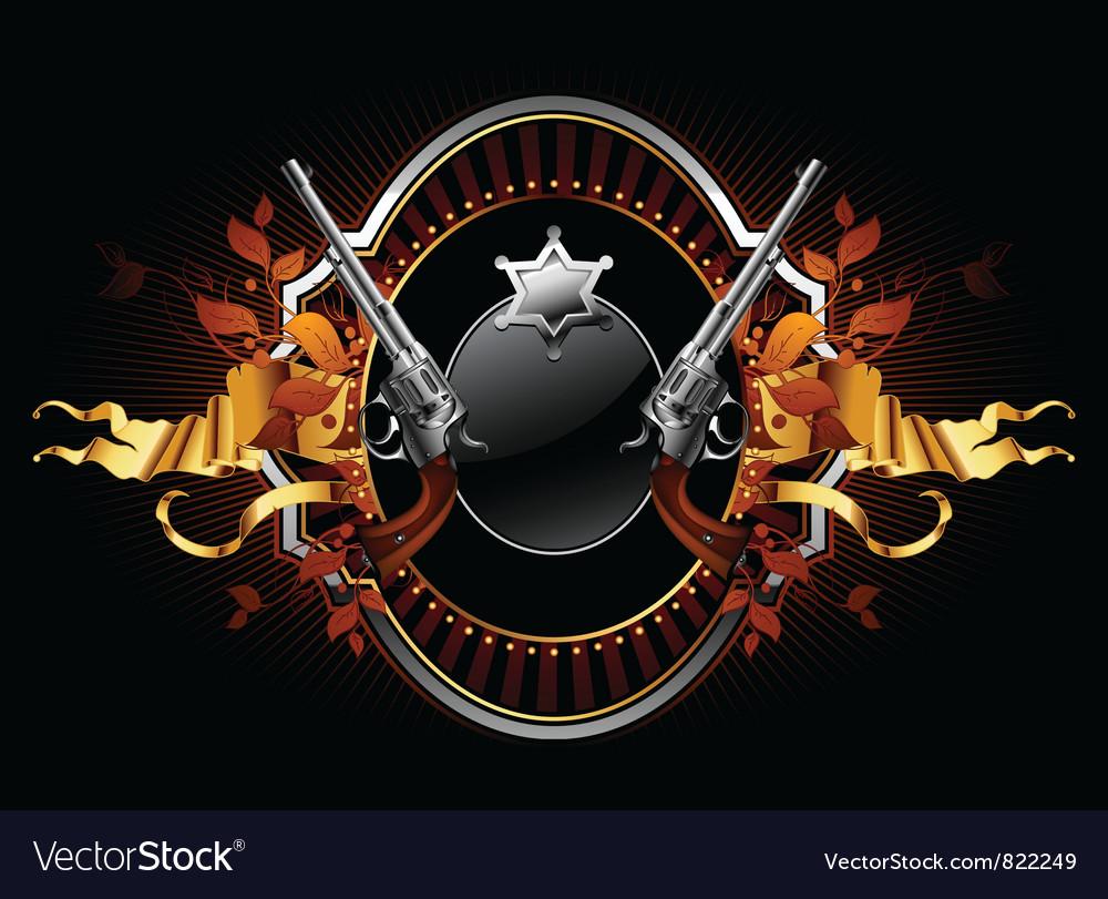 Sheriff star with guns ornate frame vector image