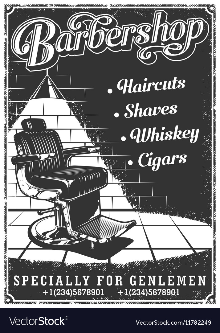 Vintage barbershop poster with barber chair vector image