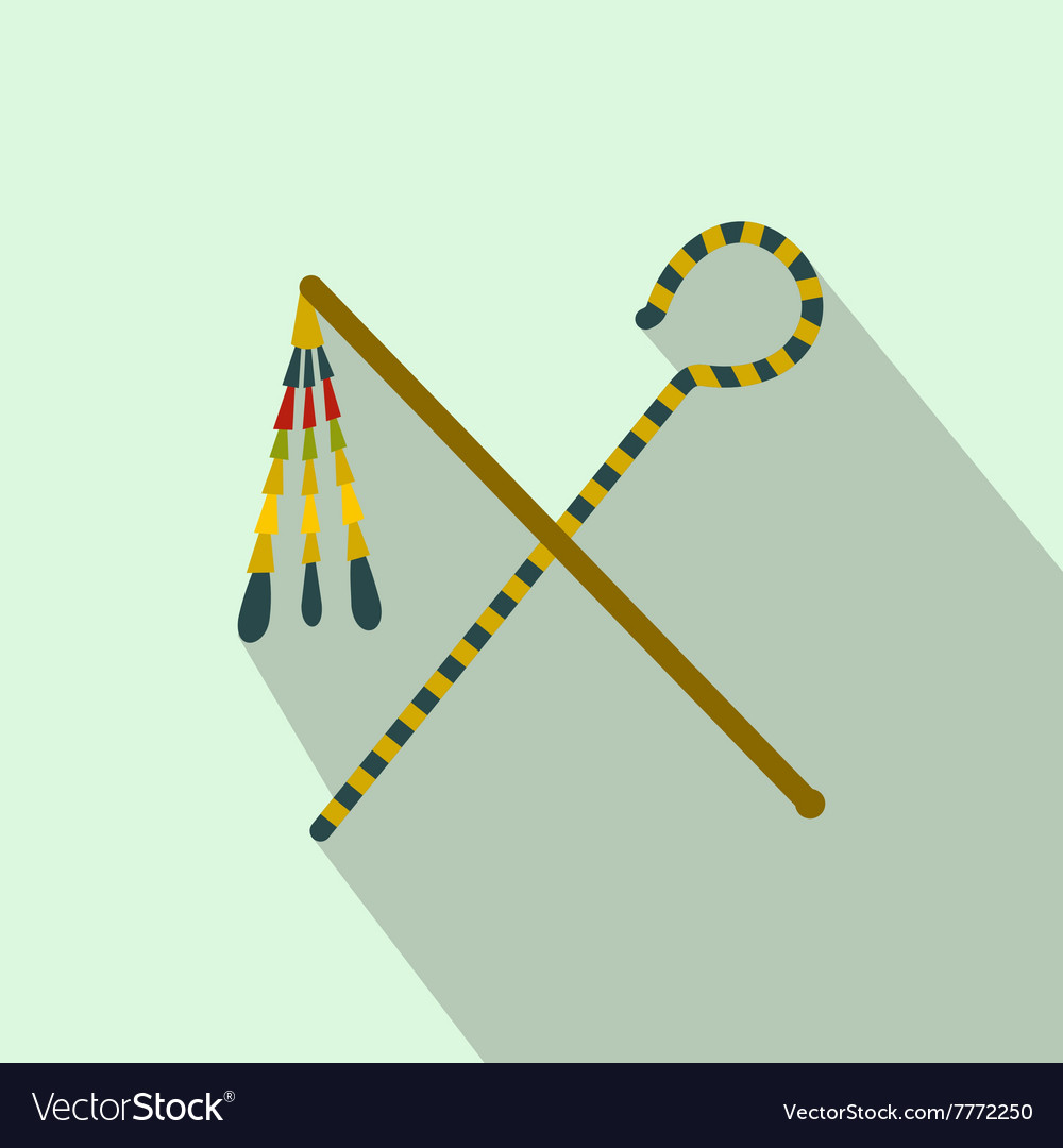 Rod and whip of Pharaoh icon flat style vector image