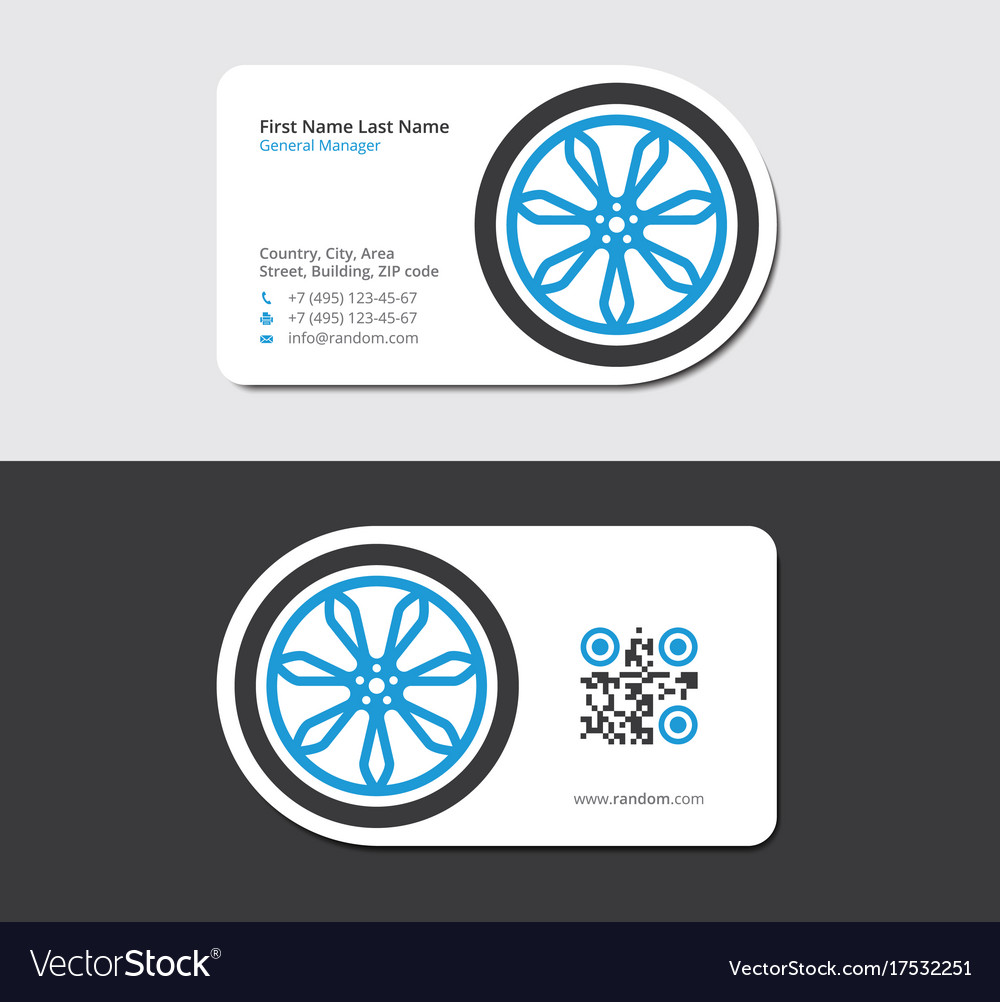 Blue business card for automobile repair shop Vector Image