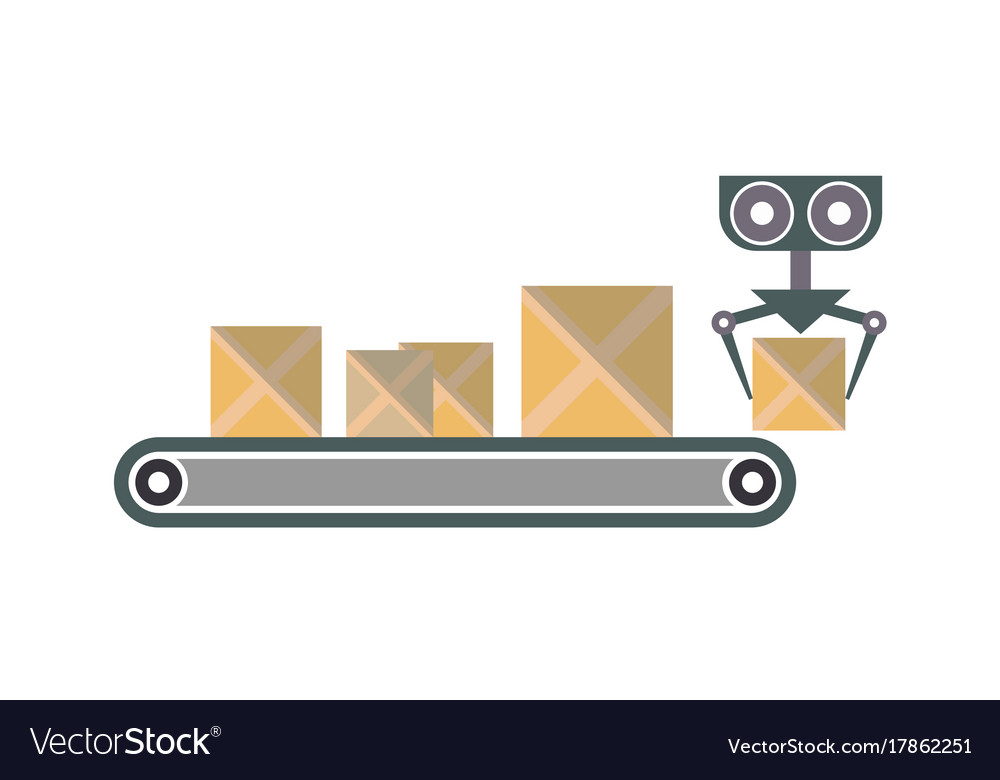 Conveyor with packing boxes icon vector image