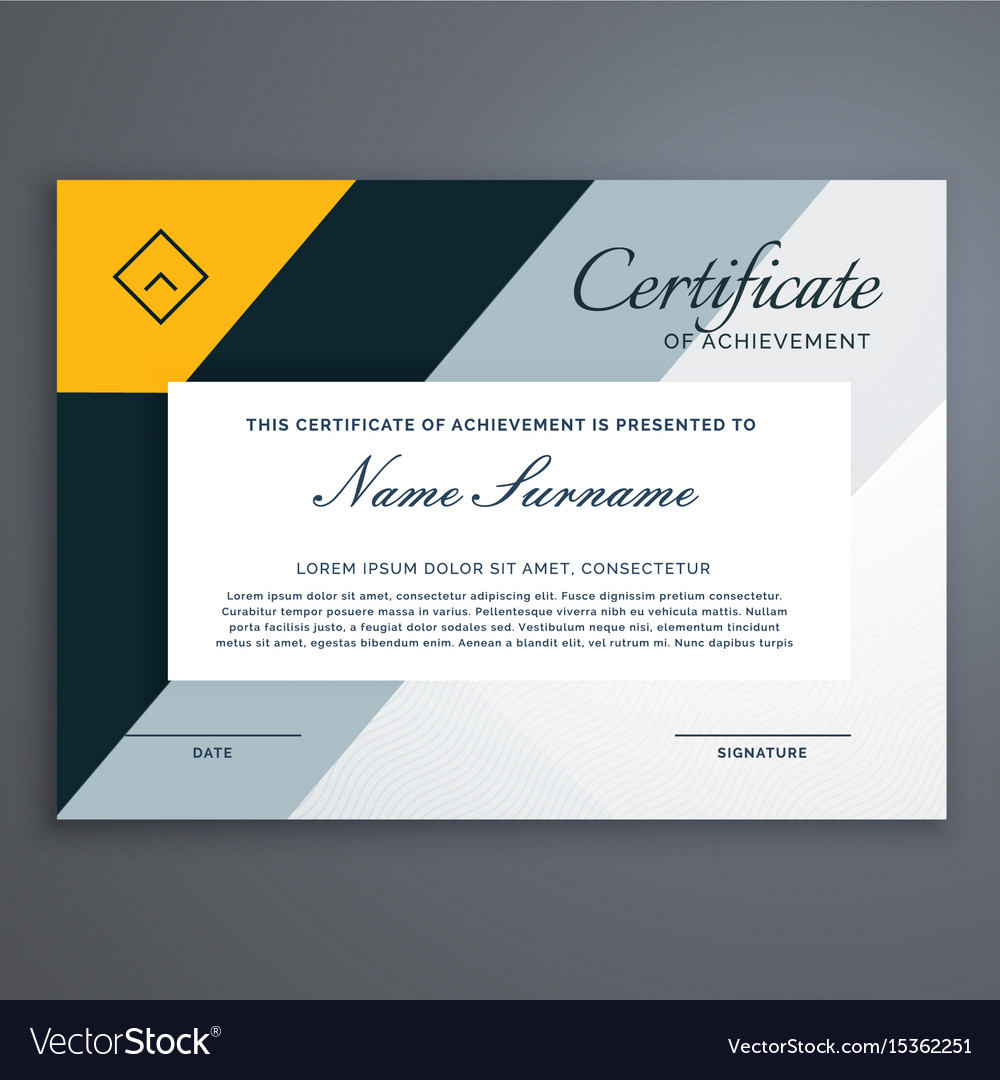 Modern certificate design in yellow geometric vector image yadclub Image collections