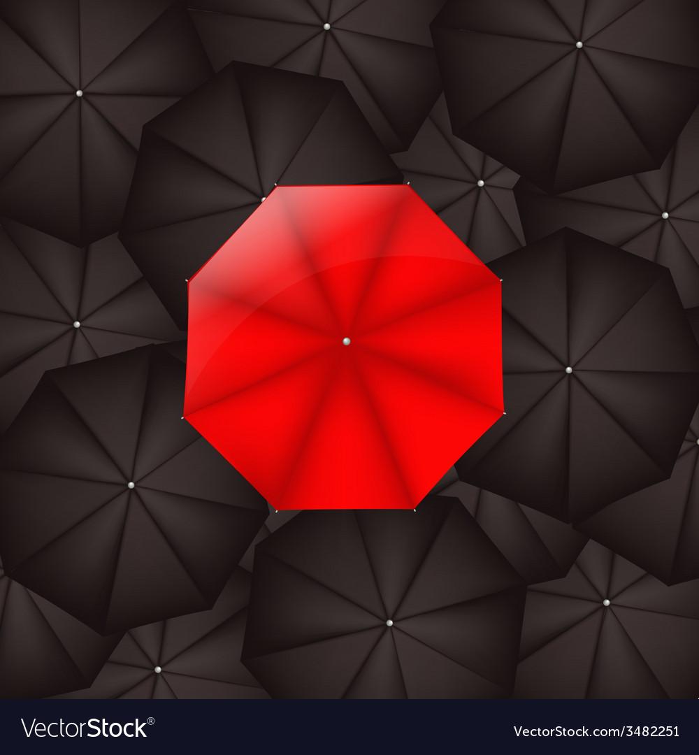 Red Umbrella Against Black Umbrellas vector image