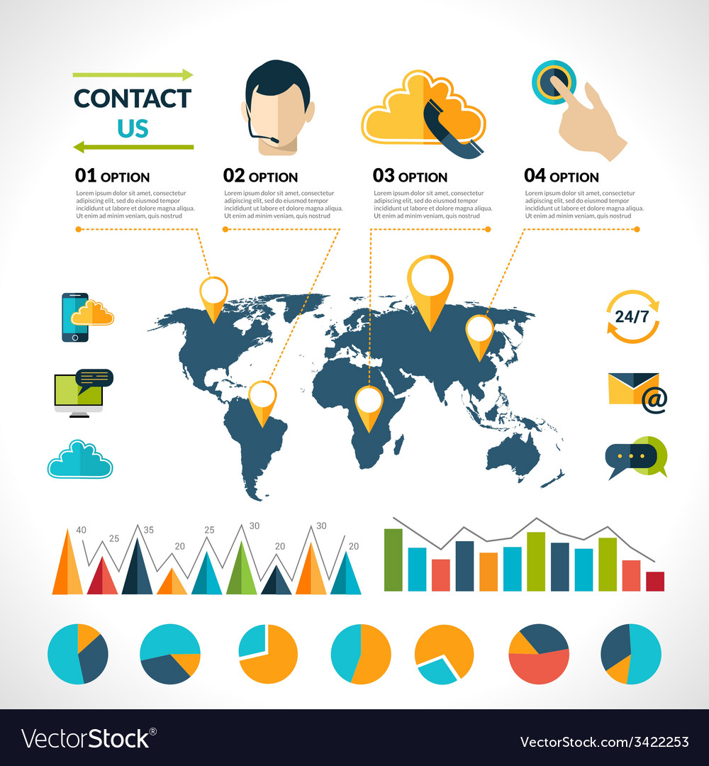 Contact us infographics set vector image