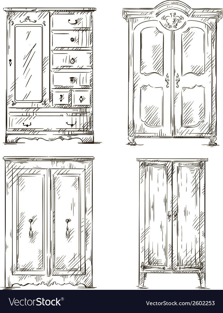 Set of hand drawn wardrobes Interior vector image